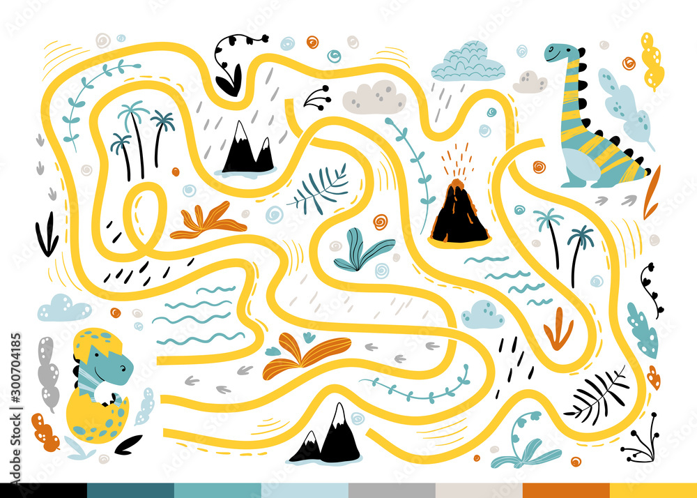 Fototapeta Dino maze. Cool children's mini-game for development. Colorful illustration in a simple cartoon style. Help the baby find the mom of the dinosaur