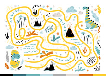 Dino Maze. Cool Children's Mini-game For Development. Colorful Illustration In A Simple Cartoon Style. Help The Baby Find The Mom Of The Dinosaur