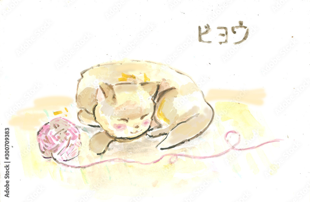 concept with a sleeping cat. watercolor illustration <span>plik: #300709383 | autor: Ольга Теплякова</span>
