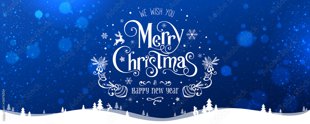 Fototapeta Merry Christmas and New Year text on blue background with winter landscape with snowflakes, light, stars. Xmas card. Vector Illustration, holiday