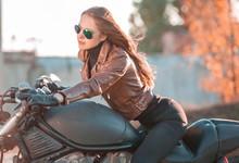 Tanya. Back, Motorcycle, Brown Jacket, Half Height!