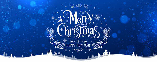 Merry Christmas and New Year text on blue background with winter landscape with snowflakes, light, stars. Xmas card. Vector Illustration, holiday