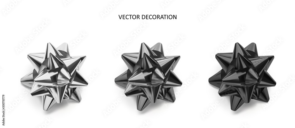 Fototapeta Set of bows silver, grey and black color metallic with shadow on isolated white background.Realistic vector decoration for holiday