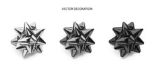 Set Of Bows Silver, Grey And Black Color Metallic With Shadow On Isolated White Background.Realistic Vector Decoration For Holiday