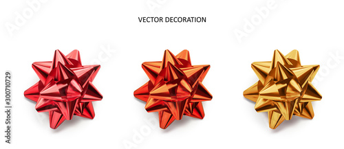 Set of bows pink, red and gold color metallic with shadow on isolated white background Fotobehang