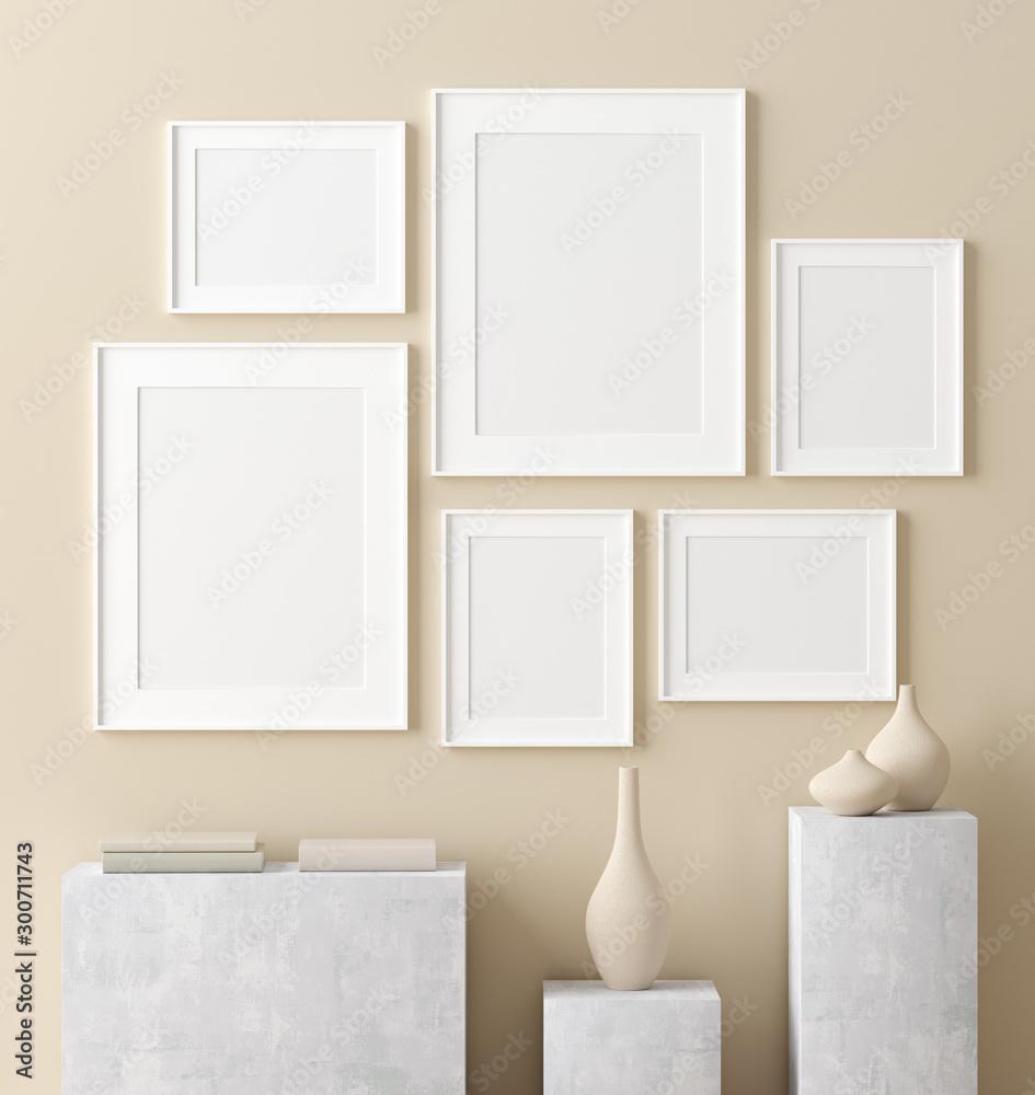 Fototapety, obrazy: Mock up poster in interior background, Scandinavian style, 3D render