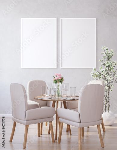 Pinturas sobre lienzo  Poster mock up in modern dining room, 3d render