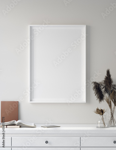 Carta da parati  Mock up poster in interior background, Scandinavian style, 3D render