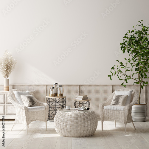 Photo  Home interior background, beige room with wicker furniture, Scandinavian style,