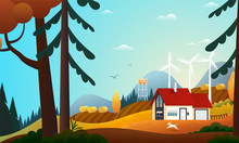 Panoramic View On Country House In The Autumn Forest With Wind Turbines. Farm In The Countryside. Green Energy And Eco Friendly Cottage Among Trees. Vector Illustration Of Landscape In Autumn.