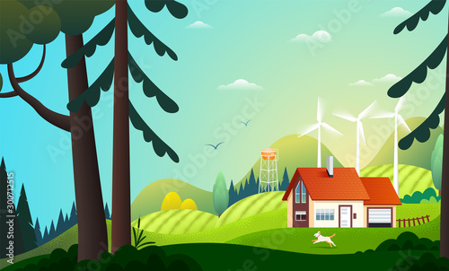 Foto auf Gartenposter Turkis Panoramic view on country house in the summer forest with wind turbines. Farm in the countryside. Green energy and eco friendly cottage among trees. Vector illustration of landscape in summer.