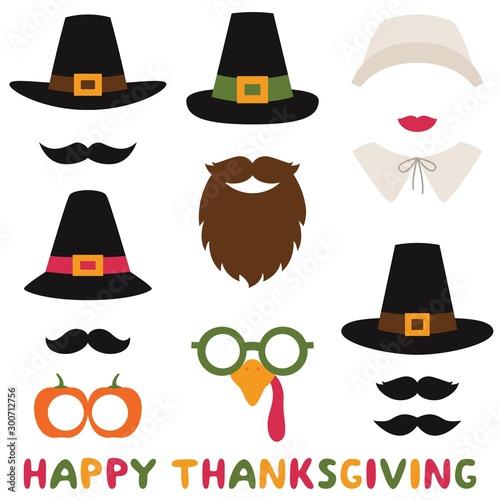 Fotografija Thanksgiving vector photo booth props, pilgrim hats and bonnet