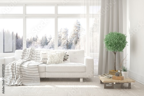 Stampa su Tela  Stylish room in white color with sofa and winter landscape in window