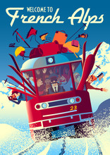 French Alps Travel Poster With Railway Train In First Plan And Mountains In The Background.