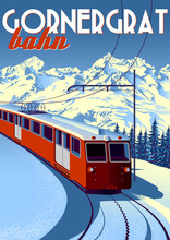 Gornergrat Bahn Travel Poster With Railway Train In First Plan And Mountains In The Background.