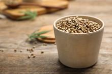 Organic Hemp Seeds In Bowl On ...