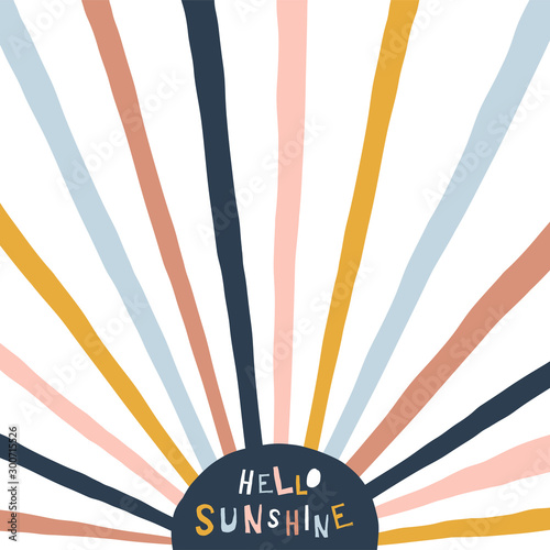 Fototapeta Colorful childish illustration with sun and text. Hello sunshine paper cut style lettering. Typographic print for kids nursery design. obraz