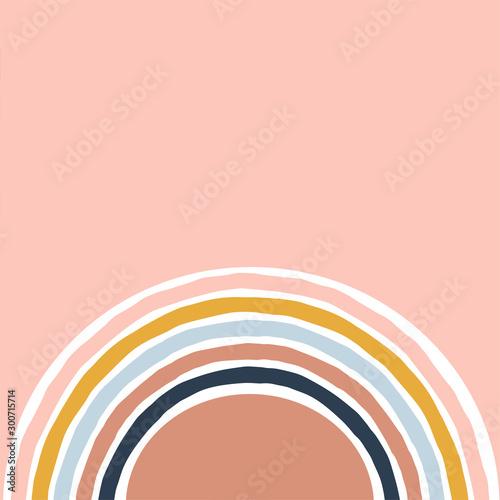 Geometric simple illustration with colourful stripy rainbow Canvas Print
