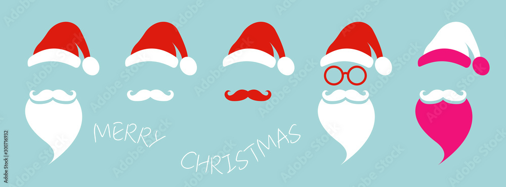 Fototapeta Santa Claus fashion hipster style set icons. Santa hats, moustache and beards, glasses. Christmas elements for your festive design. Vector illustration isolated on blue background