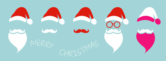 Santa Claus fashion hipster style set icons. Santa hats, moustache and beards, glasses. Christmas elements for your festive design. Vector illustration isolated on blue background