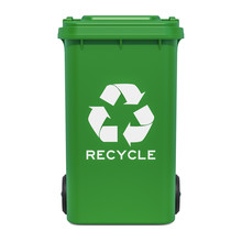 Green Recycling Trash Can, 3D ...