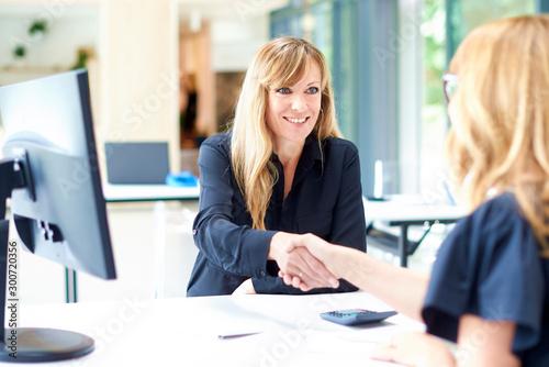 Pinturas sobre lienzo  Businesswoman shaking hands in the office