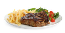 Tasty Grilled Beef Steak, French Fries And Salad Isolated On White