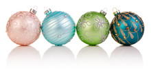 Four Colorful Christmas Balls On White Background, Xmas Baubles