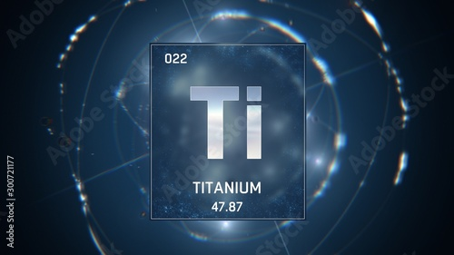 Obraz na plátně 3D illustration of Titanium as Element 22 of the Periodic Table