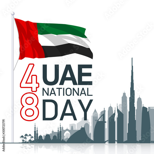 Obraz na plátne  48 UAE National day banner with UAE flag