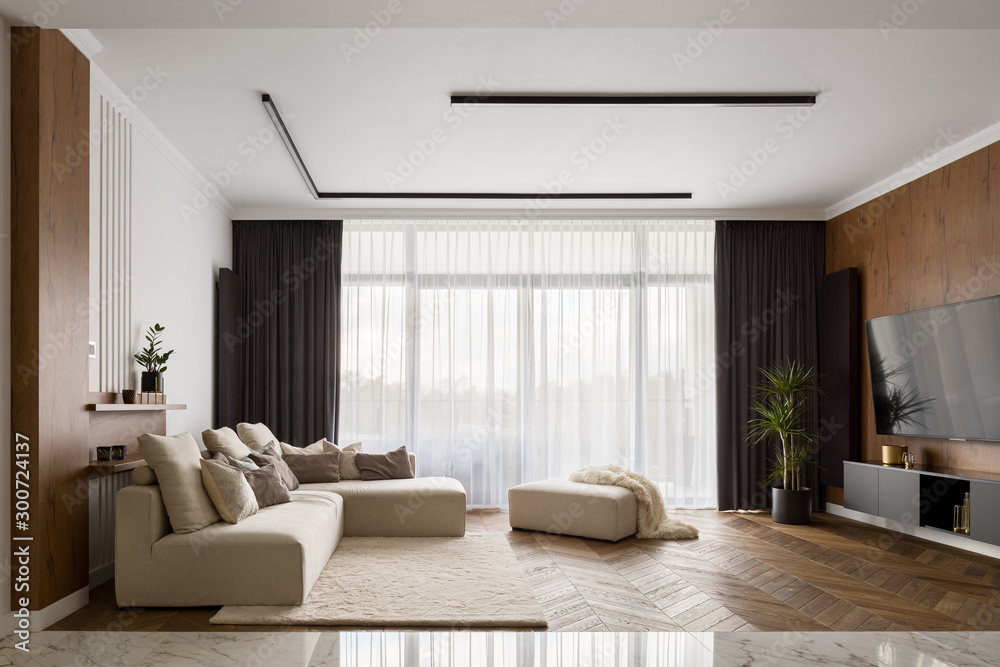 Fototapety, obrazy: Living room with wooden decoration