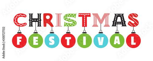 Fototapeta  Christmas festival hand drawn flat letters vector