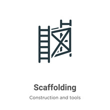 Scaffolding Vector Icon On Whi...