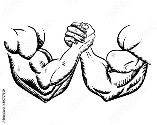 Fotografie, Obraz Arm wrestling fight combat