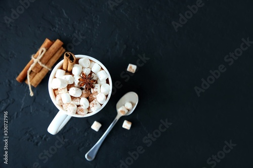 Spoed Foto op Canvas Chocolade Mug of hot chocolate with marshmallows on a dark background. Top view, copy space.
