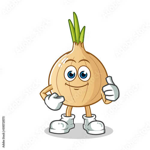 Leinwand Poster onion thumbs up cartoon mascot vector illustration