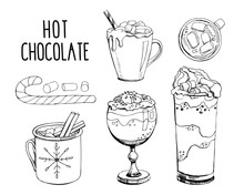 Set Of Hand Drawn Vector Illustrations Isolated On White. Hot Chocolate With Christmas Candy Cane And Marshmallow. Modern Calligraphy. Clip Art For Winter Holiday Decorations. Black And White
