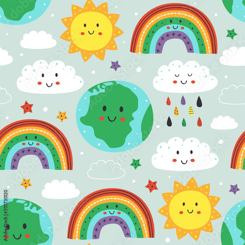 fototapeta na lodówkę seamless pattern with cute Earth,cloud, rainbow and sun - vector illustration, eps