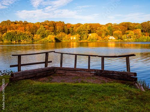 Gorton Pond, East Lyme, Connecticut fall color Canvas Print