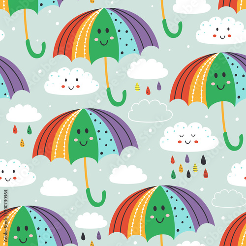seamless pattern with cute umbrella and rain cloud   - vector illustration, eps Canvas Print