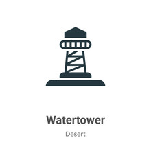 Watertower Vector Icon On White Background. Flat Vector Watertower Icon Symbol Sign From Modern Wild West Collection For Mobile Concept And Web Apps Design.