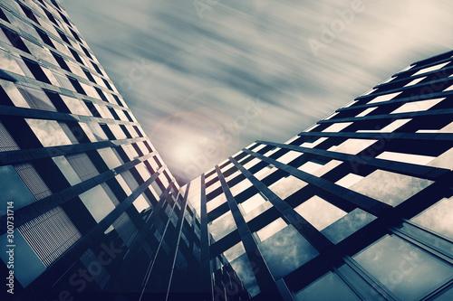 Pinturas sobre lienzo  Modernes Gebäude abstrakt mit Glasfront