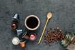 Espresso Drink on Dark Textured Background