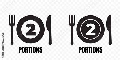 Photo 2 portions, food meal package vector icons
