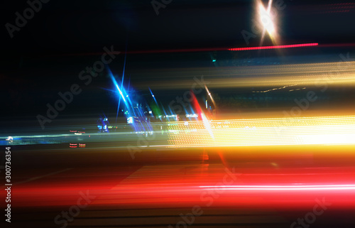 Autocollant pour porte Autoroute nuit Light traces of rushing cars at night highway background