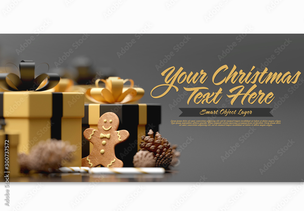 Fototapeta Christmas Scene Mockup with Gingerbread