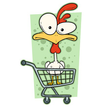 Cartoon Colorful Funny Cute Crazy Chicken With Big Eyes In Supermarket Cart. Isolated On White Background. Vector Icon.