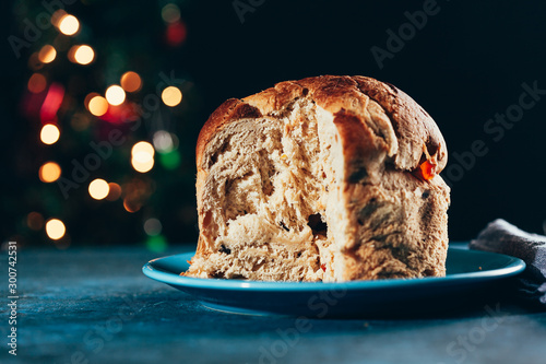 Tuinposter Brood Christmas cake panettone and Christmas decorations.