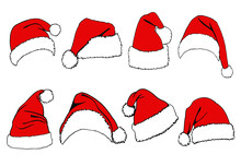 Graphical Set Of Red Santa Cla...