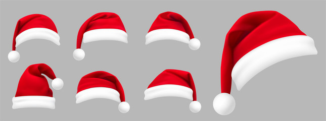 Fototapeta na wymiar Realistic set of red santa hats. New Year red hat. - stock vector.